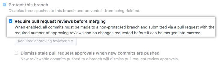Pull request review restriction checkbox