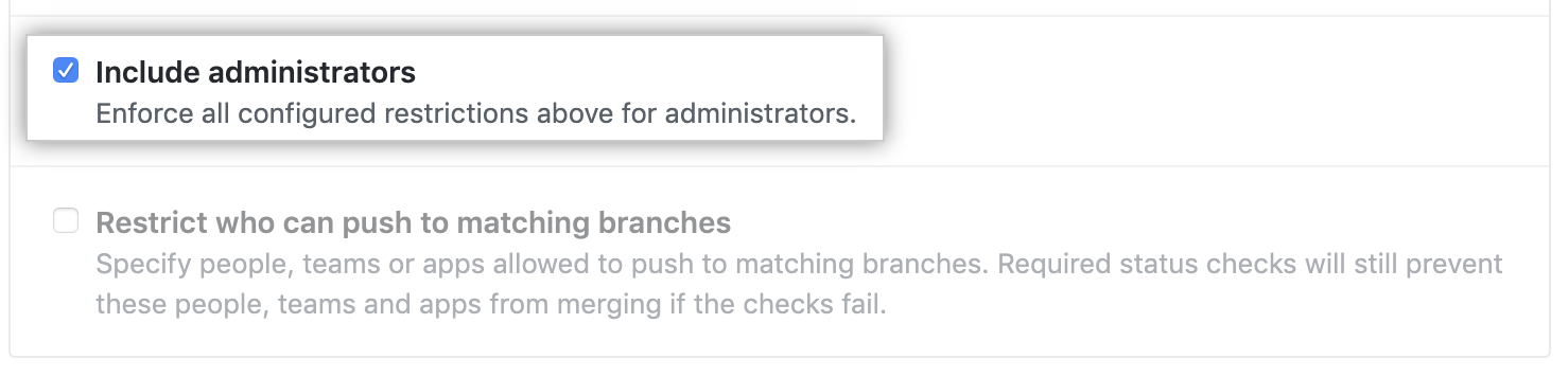 Include administrators checkbox