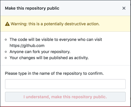 Pop-up with information about making a private repository public