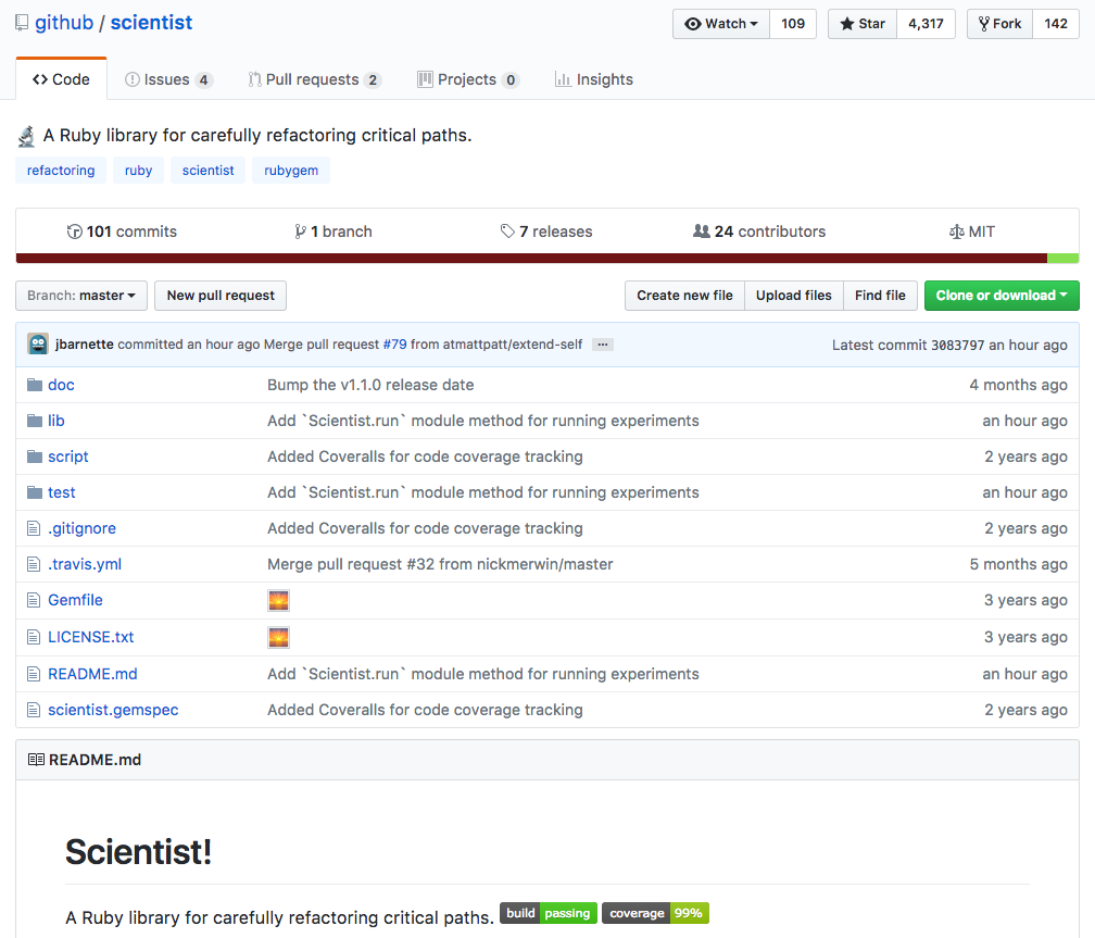 Main page of the github/scientist repository and its README file