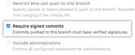 Opção Require signed commits (Exigir commits assinados)