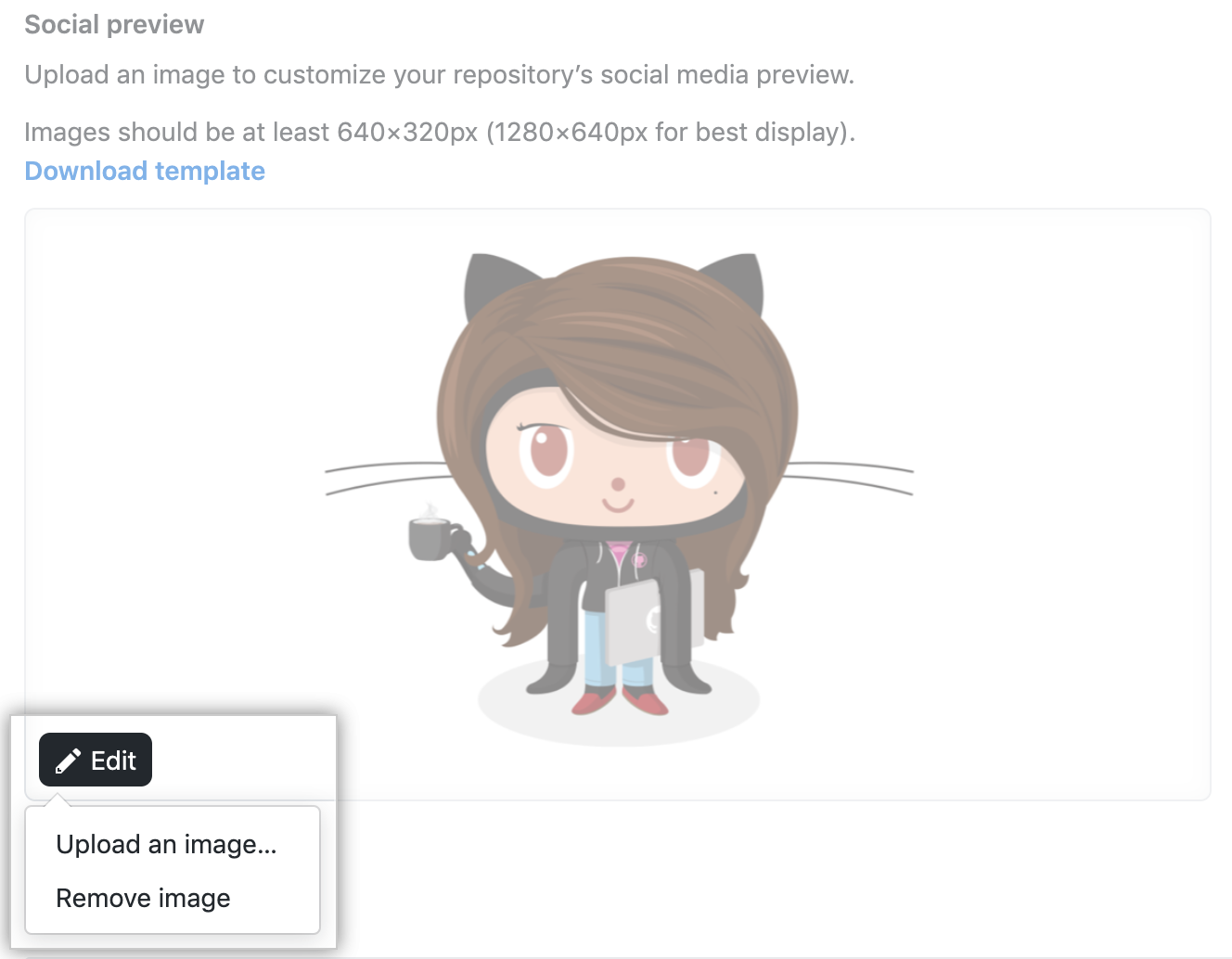 Social preview dropdown