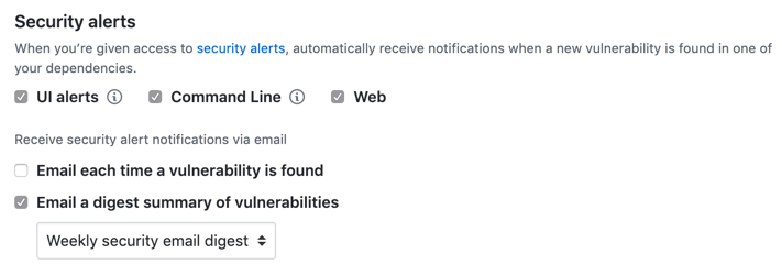 Options to configure notifications for security alerts