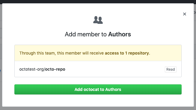 Modal box with a list of the repositories the new team member will have access to and confirmation button
