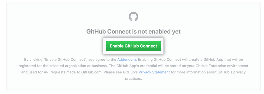 「Enable GitHub Connect」ボタン