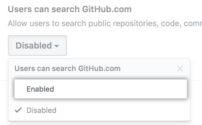 Enable search option in the [search GitHub.com] ドロップダウンメニューの [Enable search] オプション