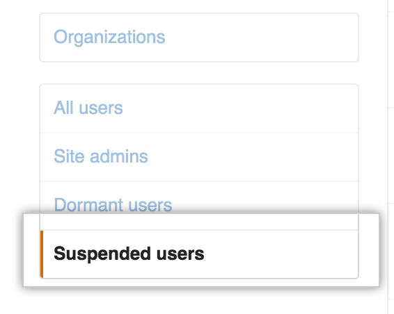 Suspended users 选项卡