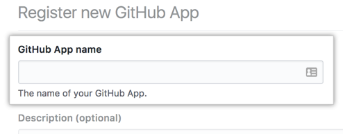 Field for the name of your GitHub App