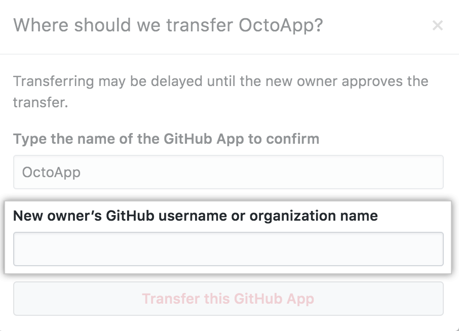 Field to enter the user or org to transfer to