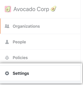 Settings tab in the enterprise account sidebar