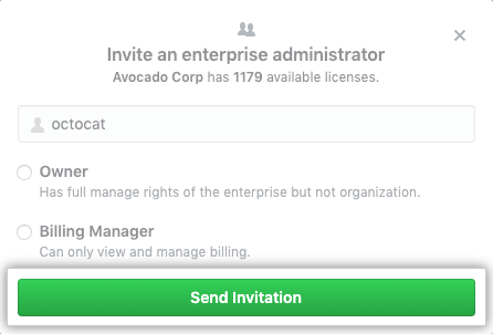 Send invitation button