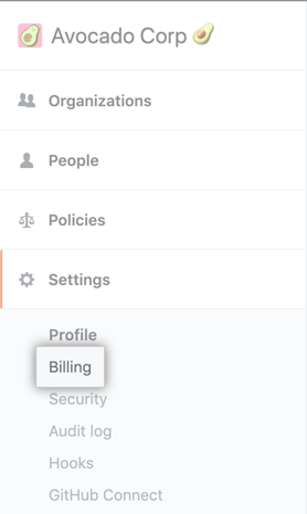Billing tab in the enterprise account settings sidebar