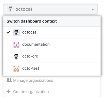 Dashboard context switcher drop-down menu showing different organization options
