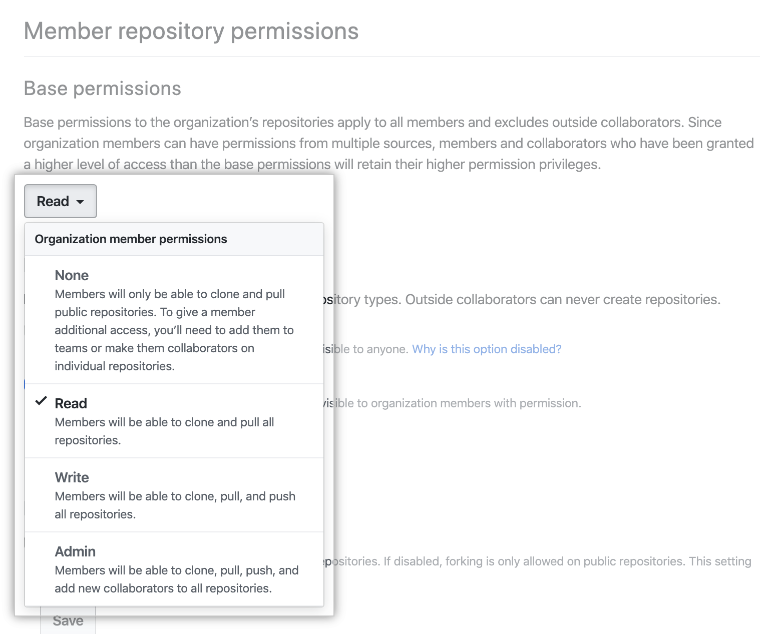 Selecting new permission level from base permissions drop-down