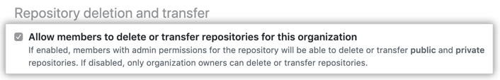 Checkbox to allow members to delete repositories