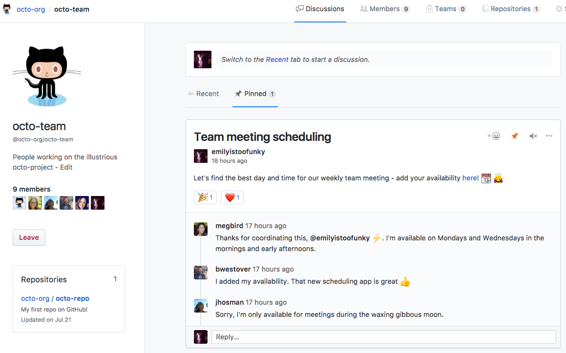 Pinned discussions tab of team page with pinned discussion