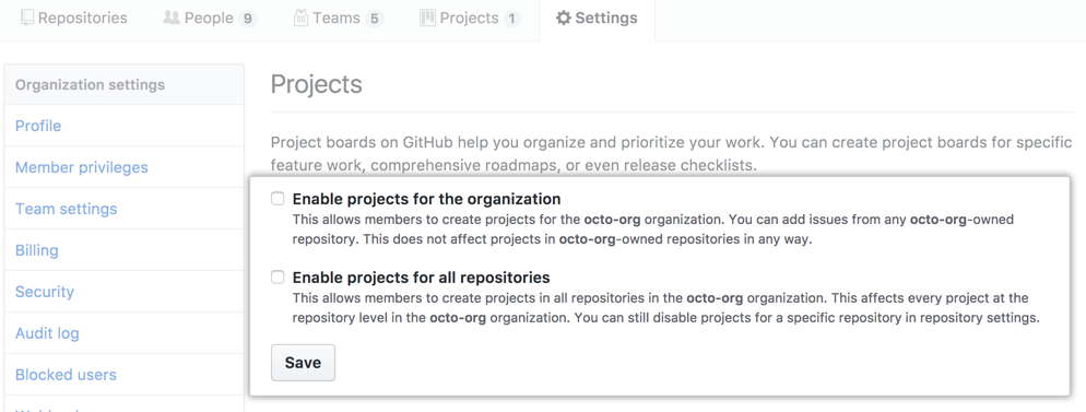 Checkboxes to disable projects for an organization or for all of an organization's repositories