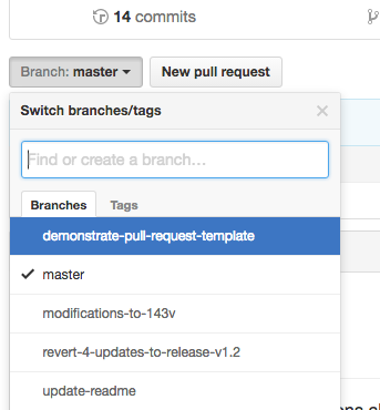 Branch dropdown menu