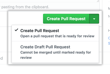 Create pull request button