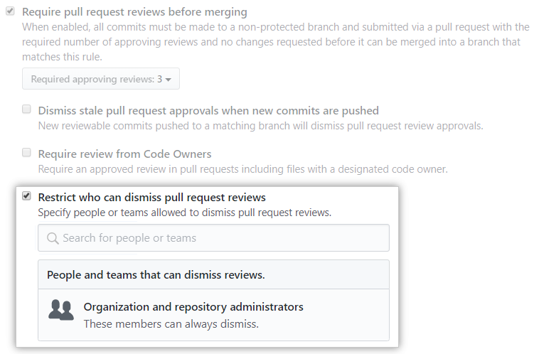 Caixa de seleção Restrict who can dismiss pull request reviews (Restringir quem pode ignorar revisões de pull request)