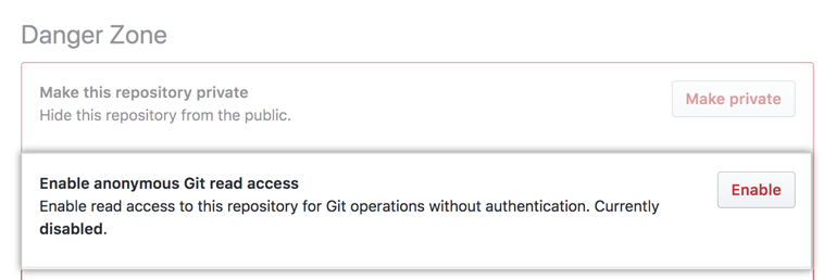 """Anonymous Git read access""(匿名 Git 读取权限)下的 ""Enabled""(启用)按钮"