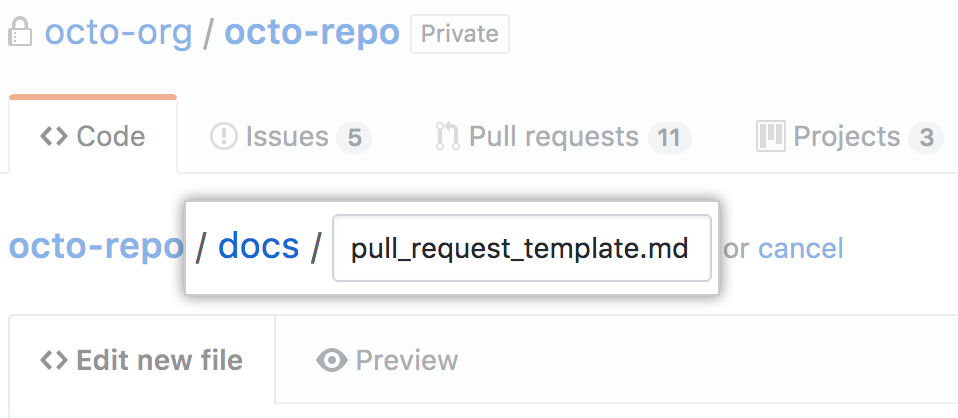 New pull request template in docs directory