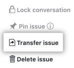 Button to transfer issue