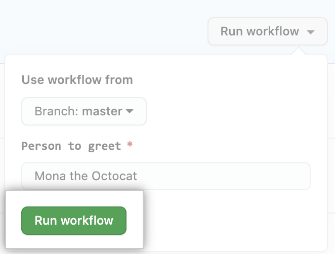 actions manually run workflow
