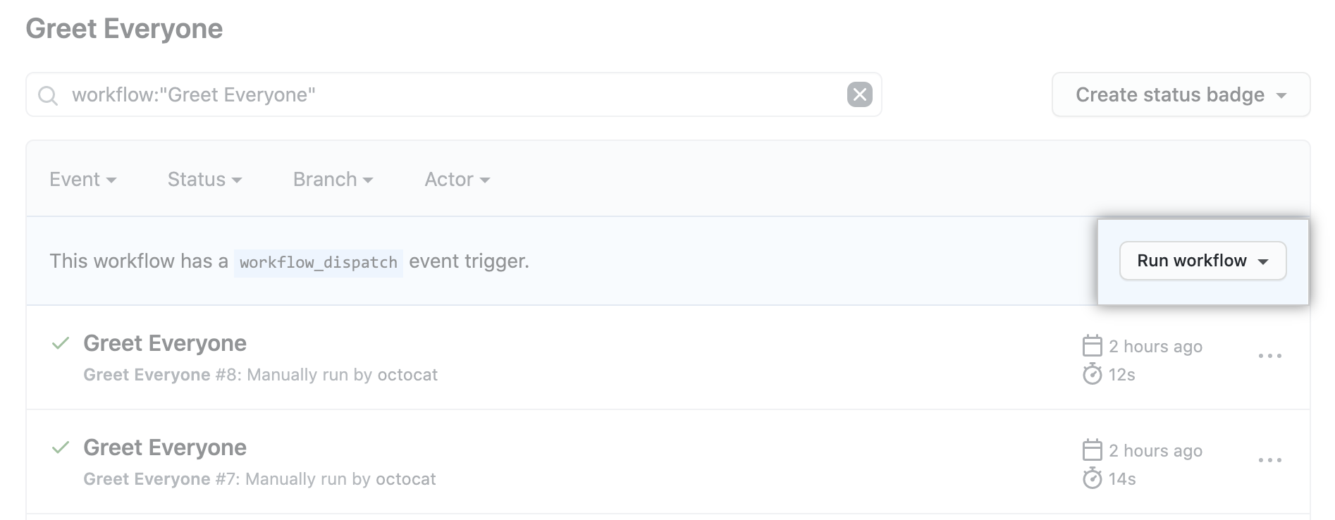 actions workflow dispatch