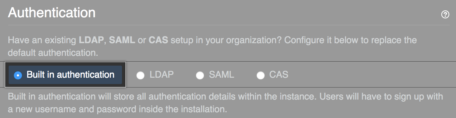 Select built-in authentication option