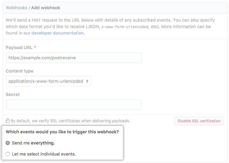 Radio buttons with options to receive payloads for every event or selected events