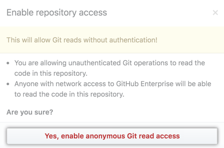 Confirm anonymous Git read access setting in pop-up window