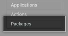 Packages tab in management console sidebar