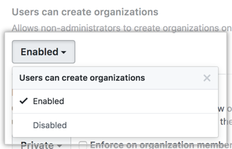 Users can create organizations drop-down