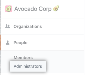 Administrators tab in the left sidebar