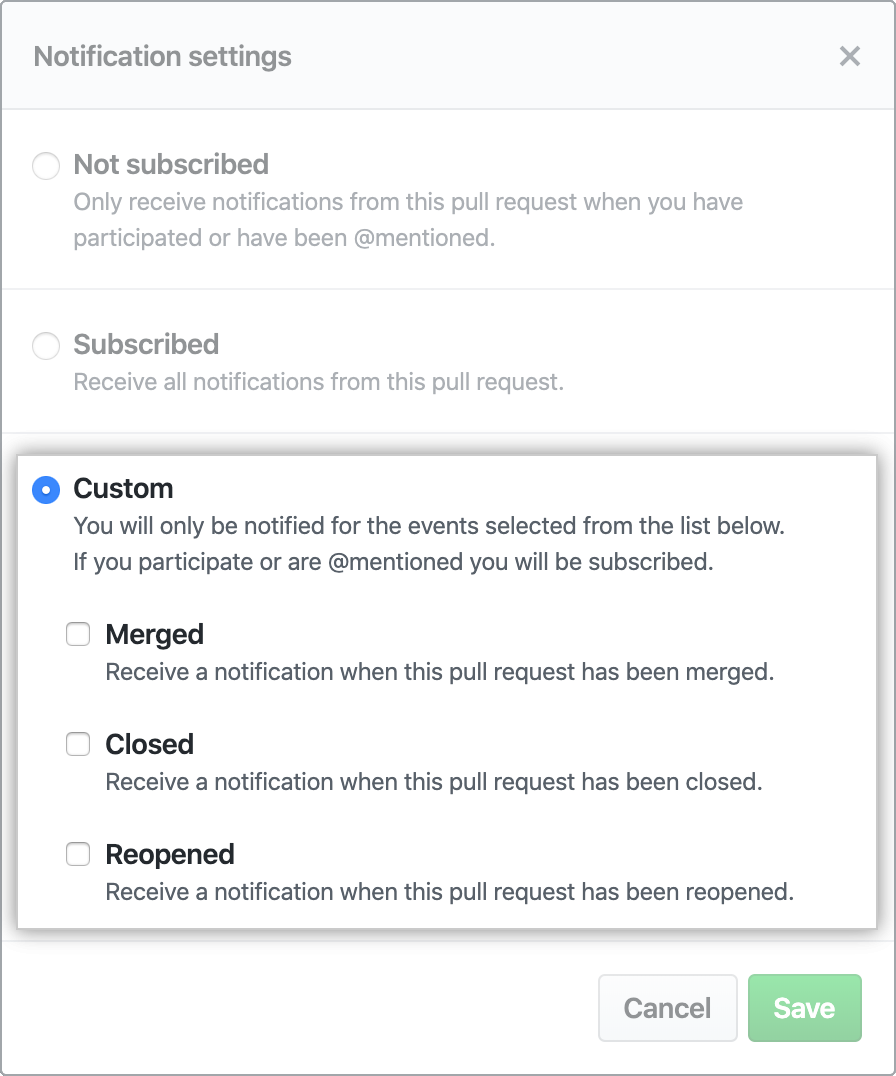 Options for customizing notifications