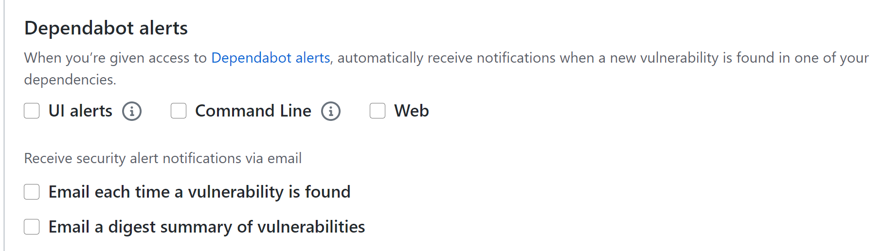 Dependabot alerts options