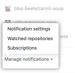 Manage notifications drop down menu options