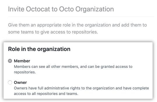 Options to make the user a member or owner