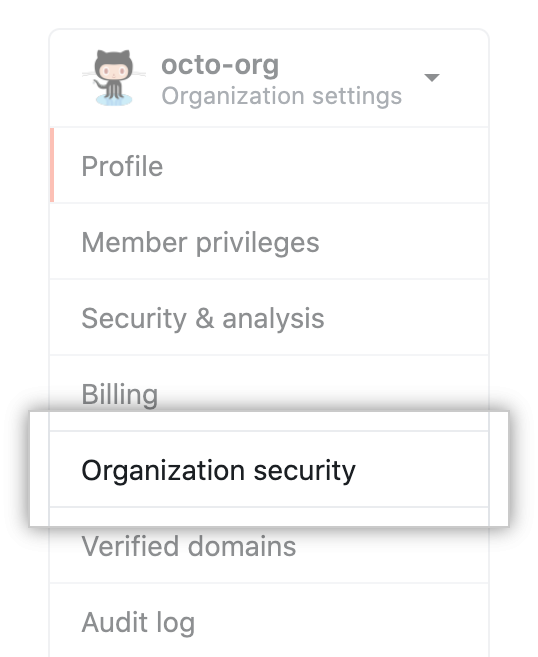 Organization security settings