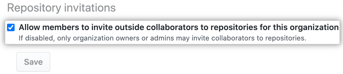 Checkbox to allow members to invite outside collaborators to organization repositories