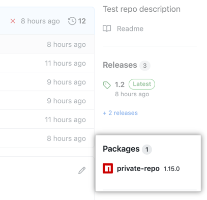 Packages link on repo overview page