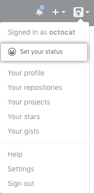 Button on profile to set your status