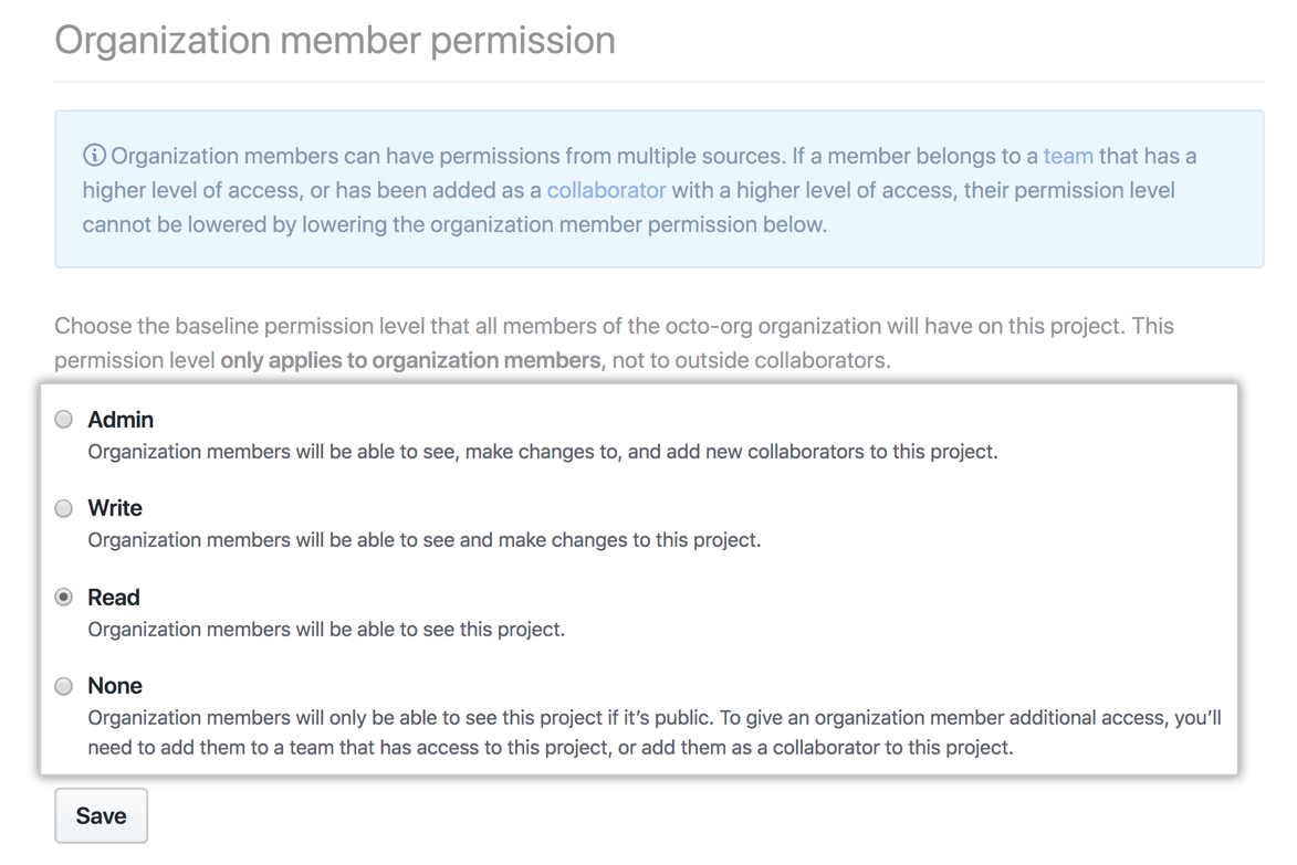 Baseline project board permission options for all organization members