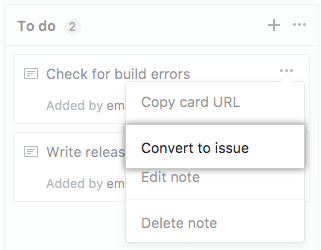 Convert to issue button