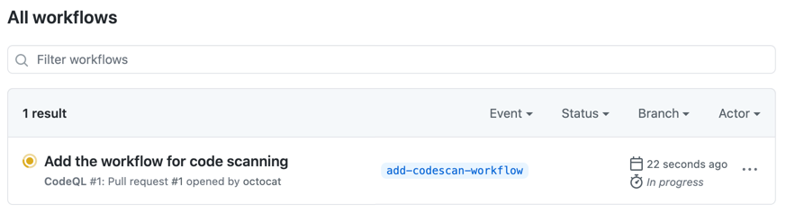 After you commit the workflow file or create a pull request, 代码扫描 will analyze your code according to the frequency you specified in your workflow file. If you created a pull request, 代码扫描 will only analyze the code on the pull request's topic branch until you merge the pull request into the default branch of the repository.