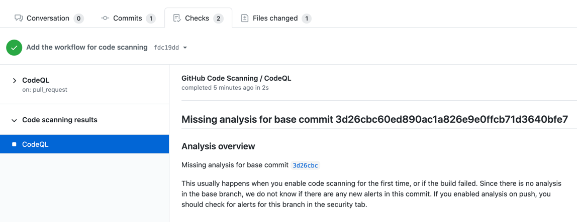 Missing analysis for commit message
