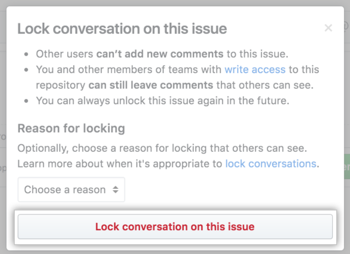 Confirm lock with a reason dialog box