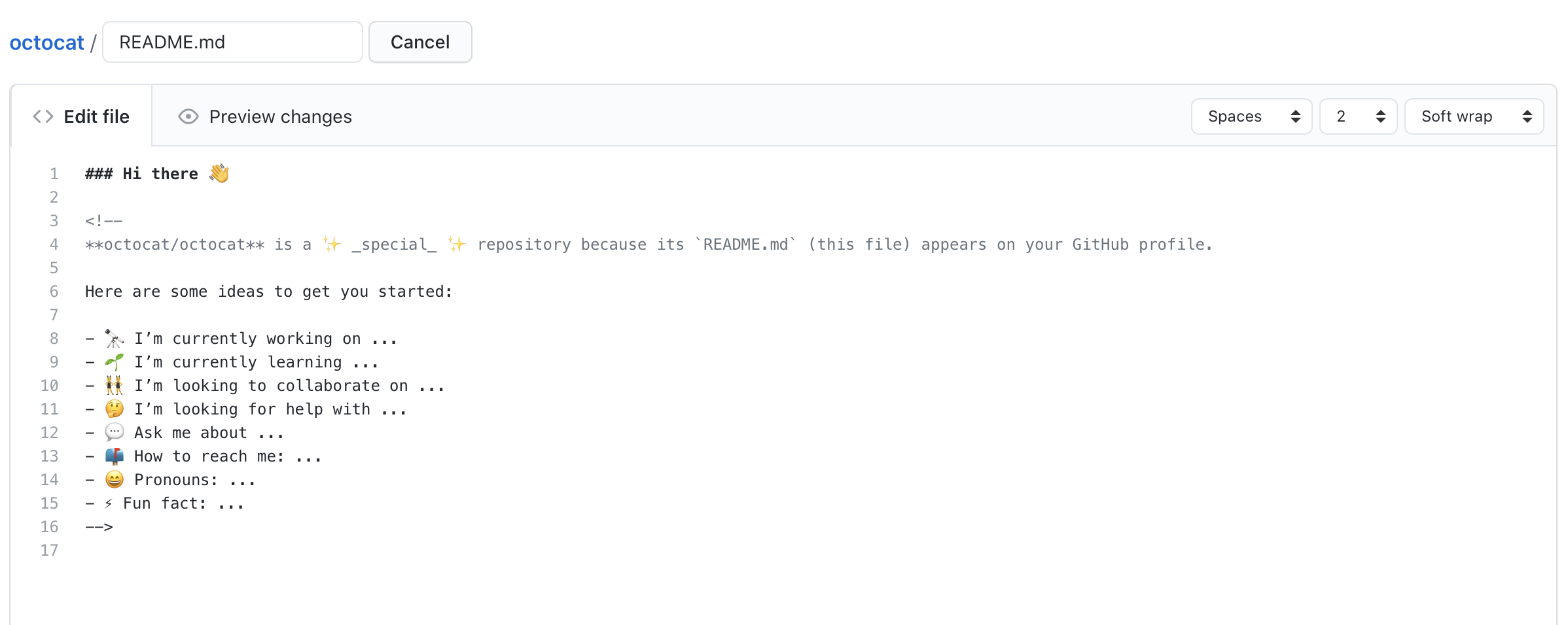 README file with pre-populated template
