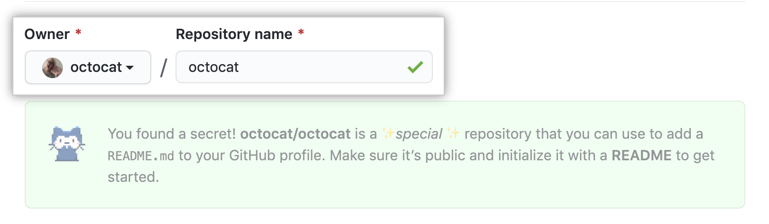 Repository name field which matches username